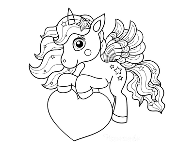 Heart Coloring Pages Cute Unicorn Stars Heart