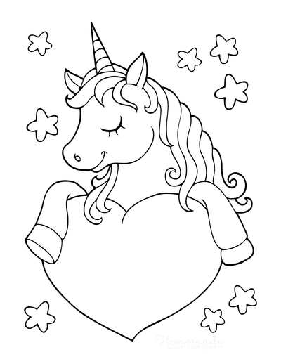 Heart Coloring Pages Cute Unicorn With Heart