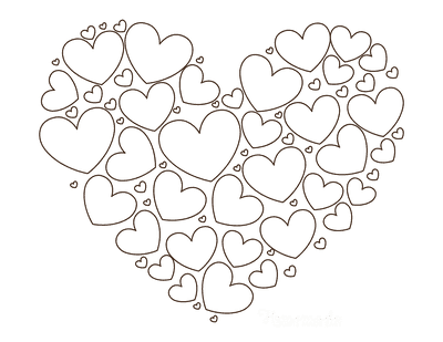 Heart Coloring Pages Different Sized Shaped Heart