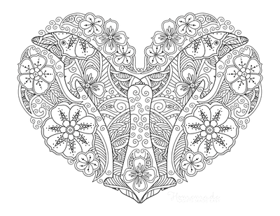 Heart Coloring Pages Dolphins Heart Doodle for Adults