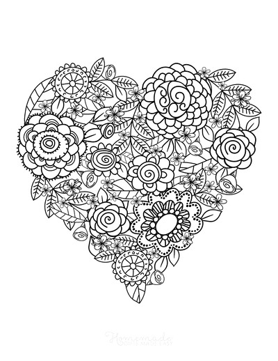 Heart Coloring Pages Flower Doodle for Adults