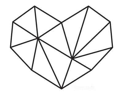 Heart Coloring Pages Geometric Heart 2