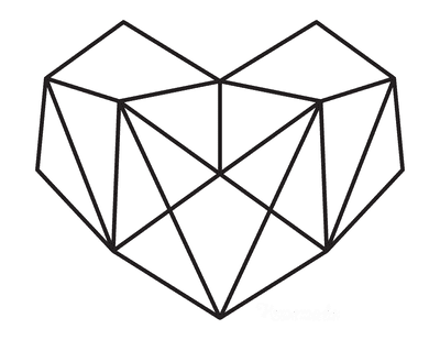 Heart Coloring Pages Geometric Heart 3