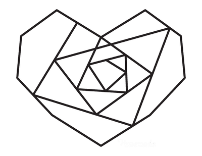 Heart Coloring Pages Geometric Heart