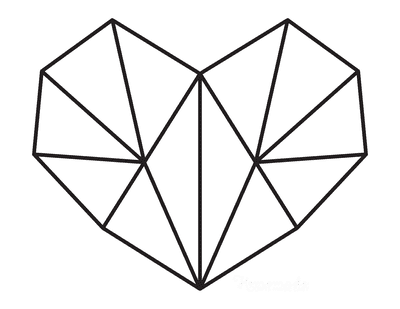 Heart Coloring Pages Geometric Heart 6