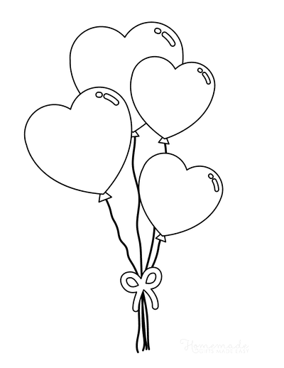 Heart Coloring Pages Heart Balloons