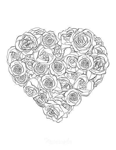 Heart Coloring Pages Heart Made of Roses for Adults