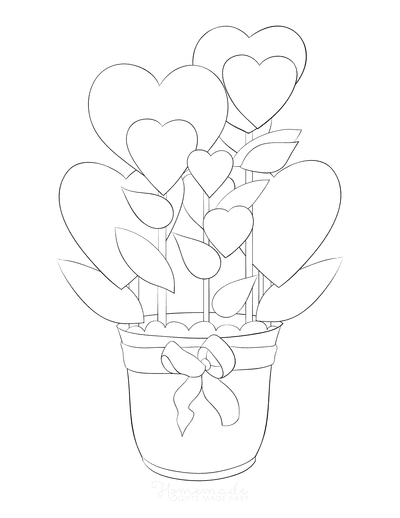 Heart Coloring Pages Heart Pot Plant