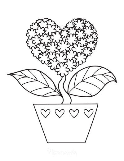 Heart Coloring Pages Heart Shaped Flower in Pot