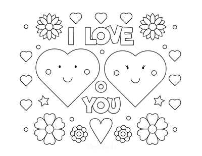 Heart Coloring Pages I Love You Hearts Flowers