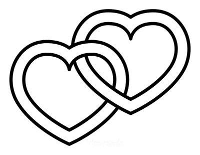 Heart Coloring Pages Interlocking Hearts