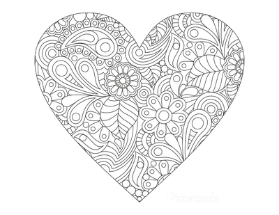 Heart Coloring Pages Intricate Heart Doodle for Adults