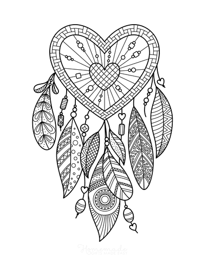 Heart Coloring Pages Intricate Heart Dream Catcher for Adults