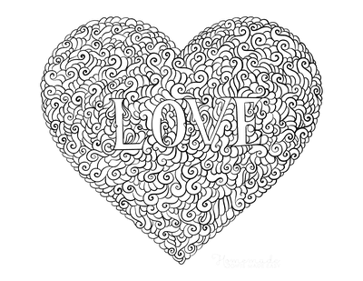 Heart Coloring Pages Intricate Pattern Heart Shaped Love