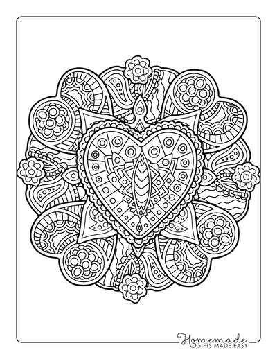 Heart Coloring Pages Intricate Patterned Hearts for Adults