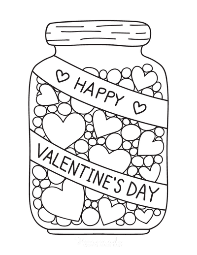 Heart Coloring Pages Jar of Hearts Valentines Day
