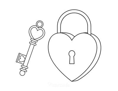 Heart Coloring Pages Key to Heart Lock