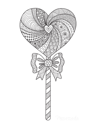 Heart Coloring Pages Lollipop Doodle for Adults