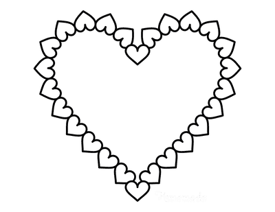 Heart Coloring Pages Love Heart Shaped Border of Hearts