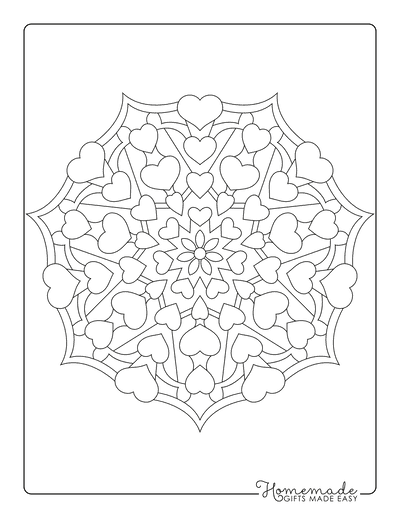 Heart Coloring Pages Mandala 2 for Adults