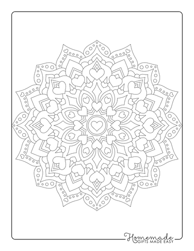 Heart Coloring Pages Mandala 3 for Adults