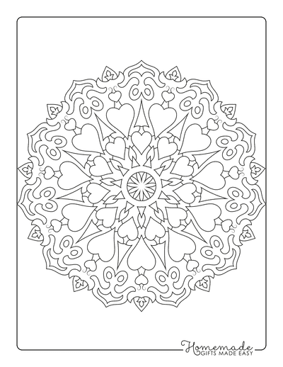 Heart Coloring Pages Mandala 4 for Adults