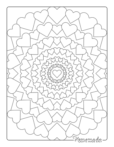 Heart Coloring Pages Mandala
