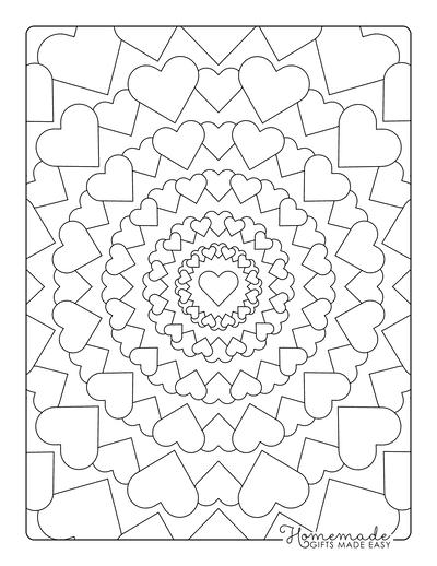 Heart Coloring Pages Mandala