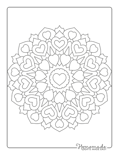 Heart Coloring Pages Mandala for Adults