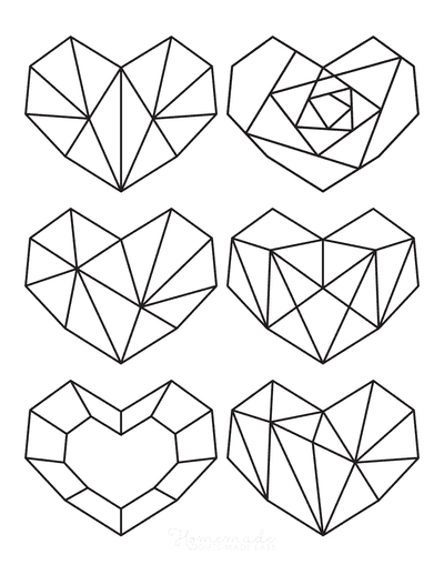 Heart Coloring Pages Mini Geometric Hearts