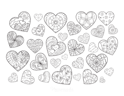 Heart Coloring Pages Mini Hearts Doodle Page