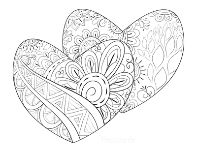 Heart Coloring Pages Patterned Pair of Hearts for Adults