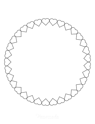 Heart Coloring Pages Round Border Made of Hearts