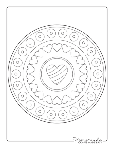 Heart Coloring Pages Simple Mandala 2