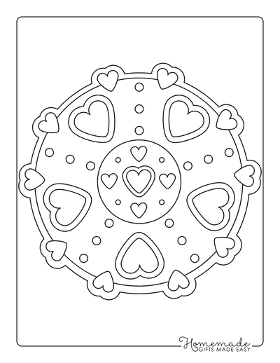 Heart Coloring Pages Simple Mandala