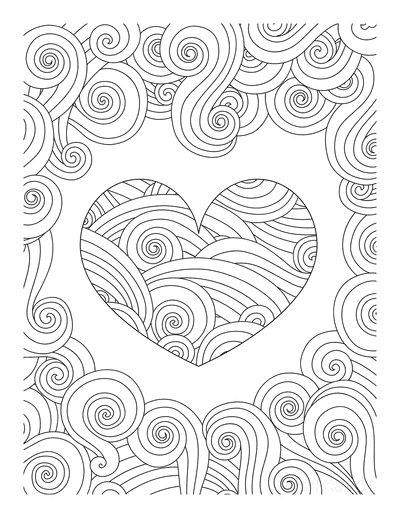 Heart Coloring Pages Swirly Pattern for Adults