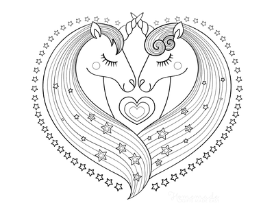 Heart Coloring Pages Unicorns Heart Shaped Manes