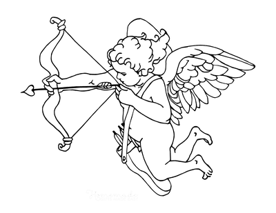 Heart Coloring Pages Vintage Style Cupid With Bow