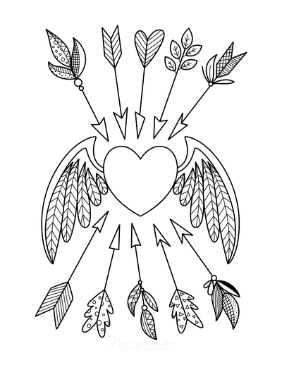 Heart Coloring Pages Winged Heart With Arrows for Adults