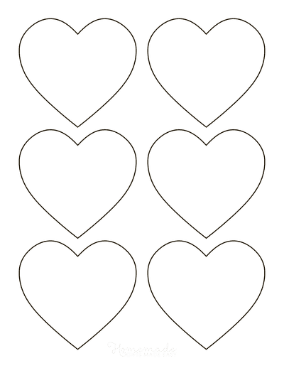Heart Template Simple Rounded Outline Small