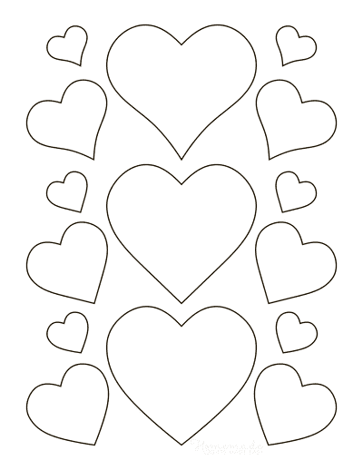 Heart Template Various Styles Sizes