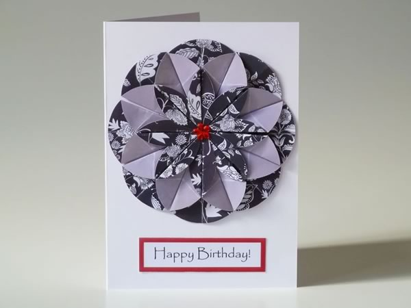 Homemade card ideas origami dahlia flower