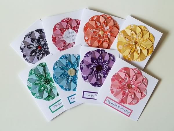 Homemade card ideas - origami dahlia flower