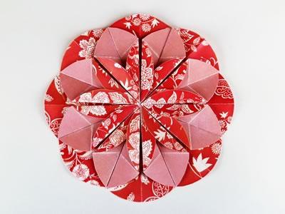 Homemade card ideas - dahlia origami flower step 7e