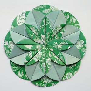 green origami dahlia flower