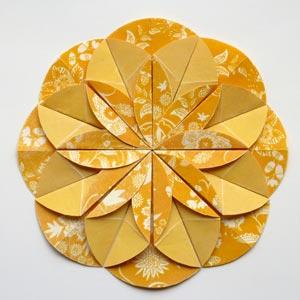 yellow origami dahlia flower