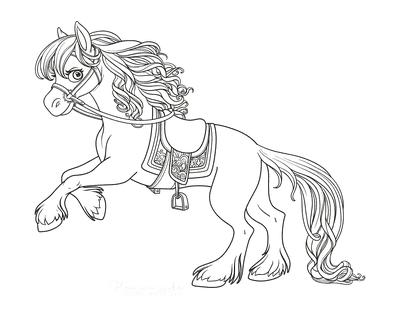 Horse Coloring Pages Beautiful Detailed Rearing