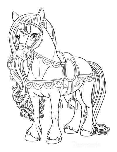 Horse Coloring Pages Beautiful Flowing Mane With Saddle