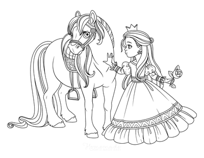 Horse Coloring Pages Beautiful Horse Princess Rose