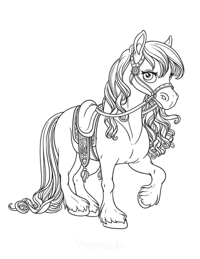 Horse Coloring Pages Beautiful Walking Flowing Mane